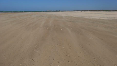 Strong wind at sandy beach Footage
