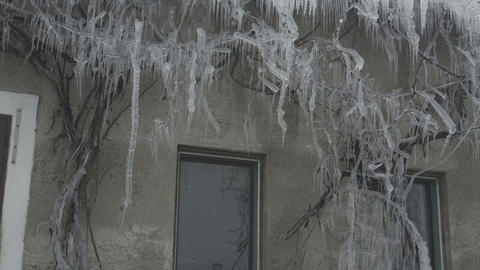 Icicles on a house Footage