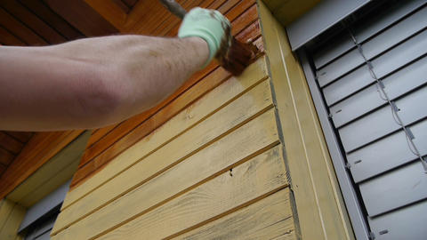 Painting wooden house Footage