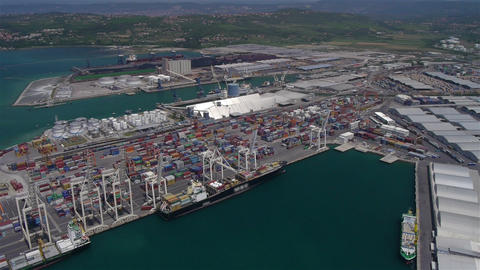 AERIAL: Large Port stock footage
