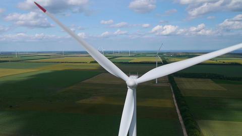 AERIAL: Wind Turbine stock footage