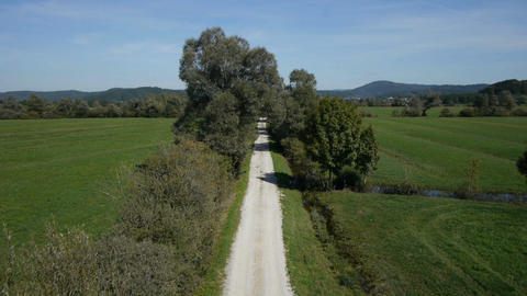 AERIAL : Flight over a country road Footage