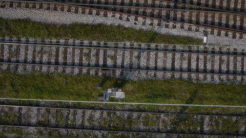 AERIAL: Railway Tracks stock footage