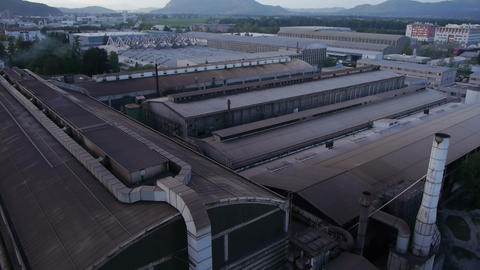 AERIAL: Old Factory stock footage