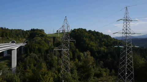 AERIAL: High voltage tower Footage