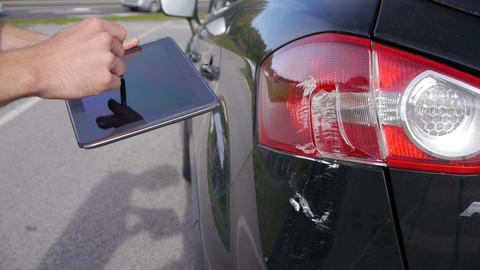 Sketching car damage on digital tablet Footage