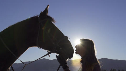 Slow motion shot of young woman and her horse in n Footage
