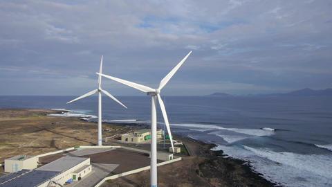 AERIAL: Wind turbines at seaside Footage