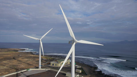 AERIAL: Wind turbines at seaside Footage