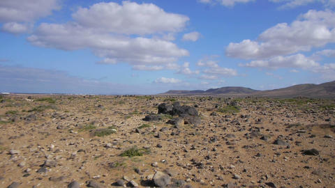 AERIAL: Stone Desert On Canary Islands stock footage