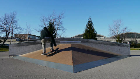 Skateboarder doing flip trick Footage