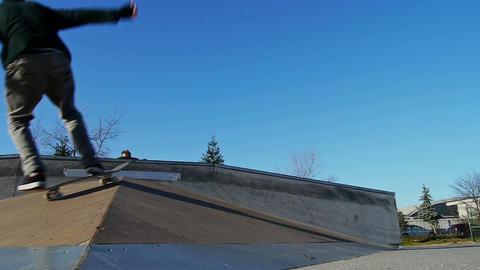 Skateboarder doing flip trick Footage