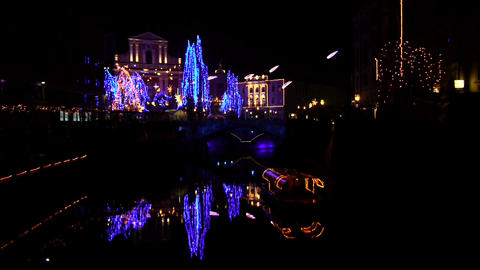 Christmas Lights in Ljubljana Footage
