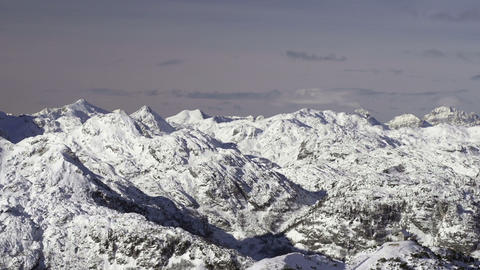 View At The Winter Mountain Range stock footage