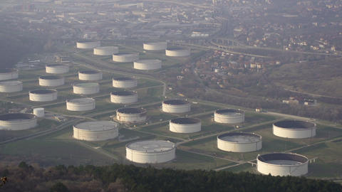 Oil Reservoirs In Trieste stock footage