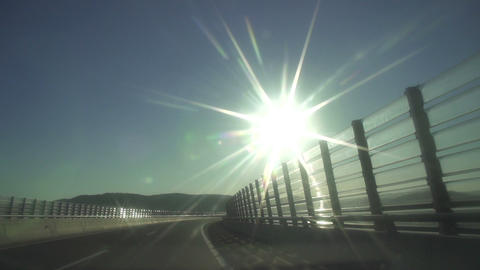 SLOW MOTION: Driving Along The Highway stock footage
