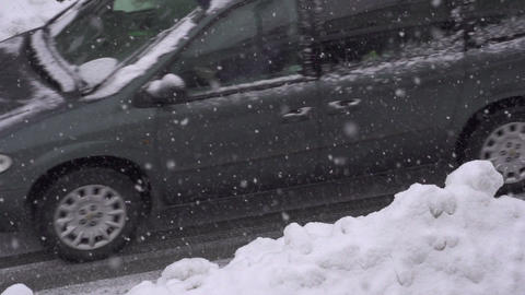 SLOW MOTION: Driving on snowy road Footage