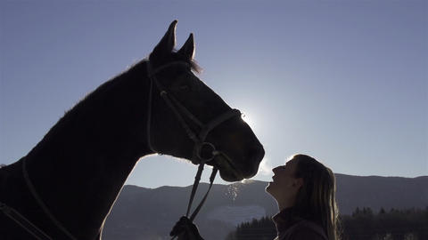 CLOSE-UP: silhouette of a girl kissing her horse o Footage