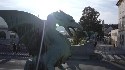 AERIAL: Dragon sculpture in autumn sun Footage