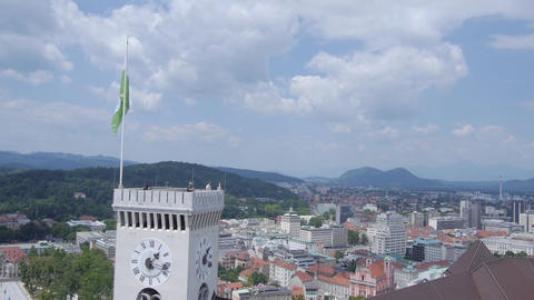 AERIAL: Castle above the Ljubljana city Footage