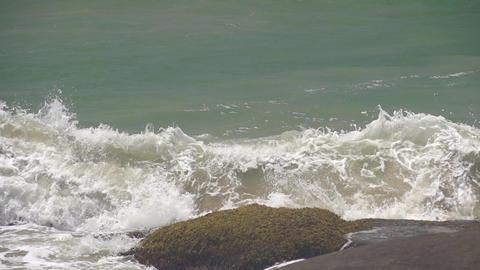 SLOW MOTION: Ocean Waves Hitting Rocks Footage