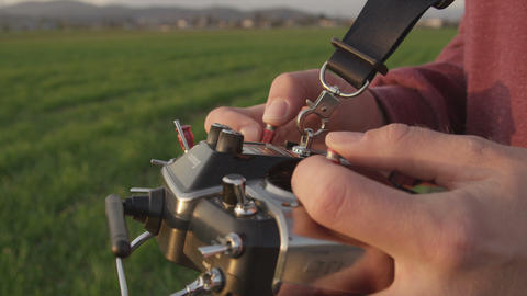 SLOW MOTION: Using RC Transmitter stock footage