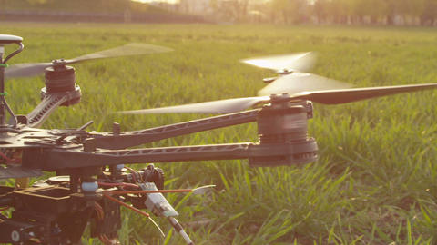 SLOW MOTION CLOSE-UP: RC Helicopter Rising Up stock footage