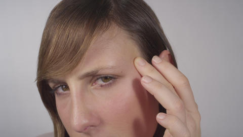 Young Woman Checking Wrinkles And Pimples stock footage