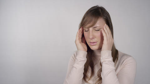 Young Woman Has A Headache stock footage