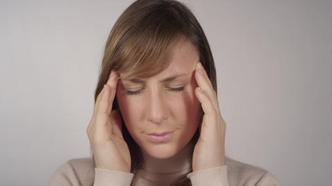 CLOSE UP: Having a bad headache Footage