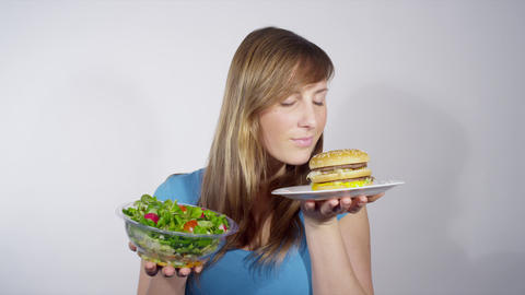 Fast Food Vs. Healthy Food stock footage
