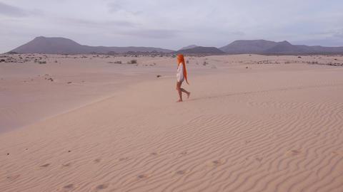 AERIAL: Woman Walking Through The Desert stock footage