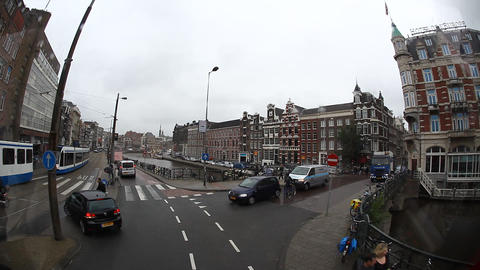 Amsterdam skyline and streets from the window of t Footage