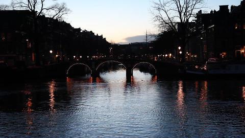 A Bridge In Amsterdam, Holland, Dawn, Dusk stock footage
