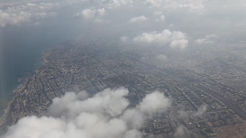 Tel Aviv, Israel, from the window of the airplane Footage