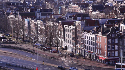 Amsterdam Holland streets, canals, bridges, buildi Footage