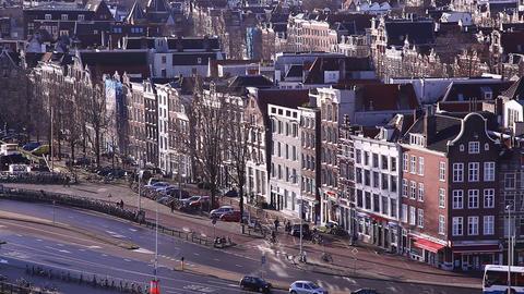 Amsterdam Holland streets, canals, bridges, buildi Footage