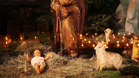 The birth of Jesus scene in church Footage