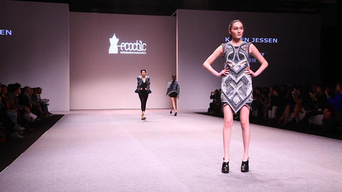 Catwalk At EcoChic Design Award Sustainable Fashio stock footage