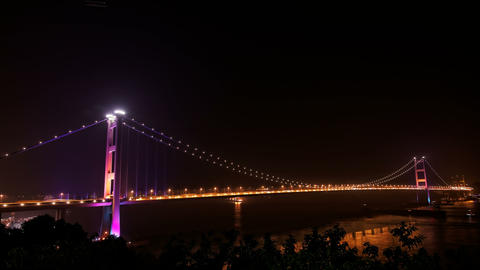 4K UHD Tsing Ma Bridge in Hong Kong at night Footage