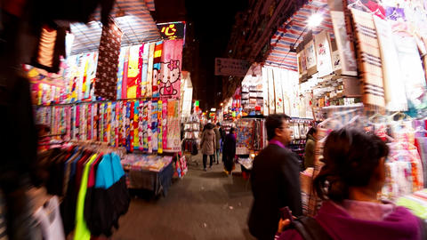 Hong Kong colorful street night market time lapse Footage