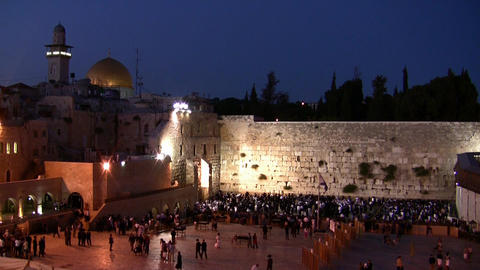 Western Wall and Dome of the Rock sunset Footage