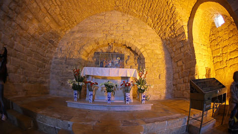 Tourists visit the Synagogue Church in Nazareth, I Footage