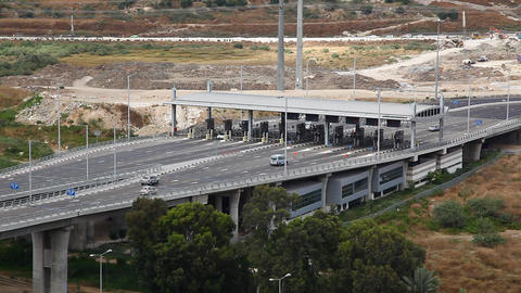 Toll booth Checkpost intersection Haifa Israel tim Footage