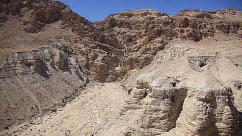 Qumran caves where Dead Sea Scrolls were found Footage