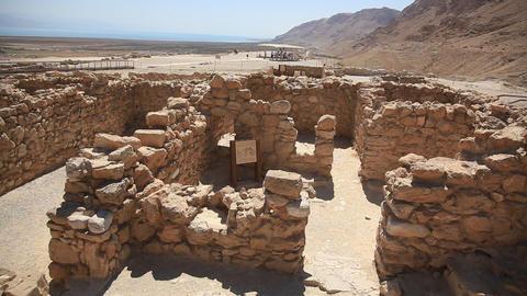 Khirbet Qumran near the caves where Dead Sea Scrol Footage