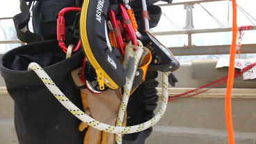 Firefighter Rappelling Gear stock footage