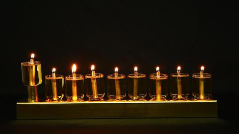 Hanukia made of olive oil lanterns Footage
