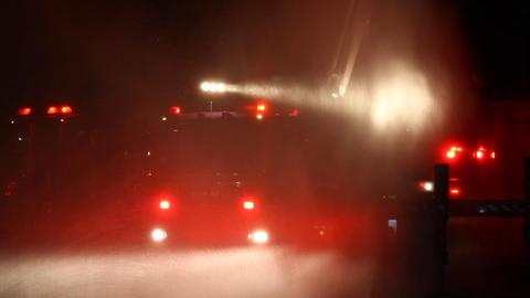 Flashing fireman emergency warning lights fire tru Footage