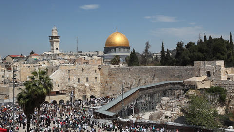 Thousands of Jews attend the Priestly Blessing at  Footage